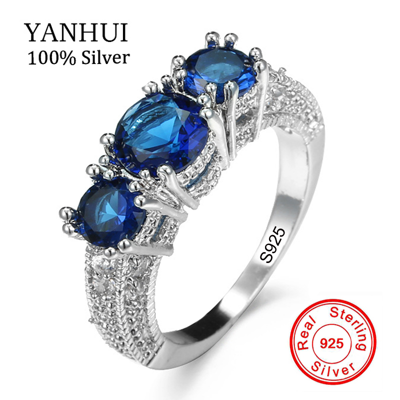 Meilleur Vente 7 Couleurs Authentique 100% 925 Sterling Silver Ring ensemble 3 pcs Naturel Gem Pierre CZ Anneau De Mariage Original Bijoux KRA078