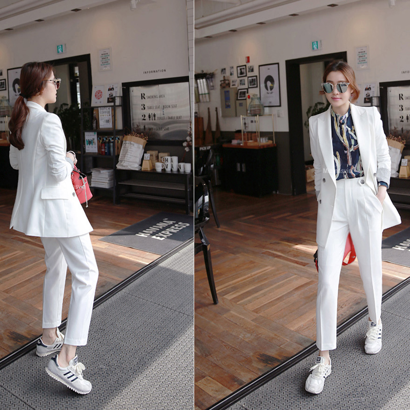 white Work Pants Suits 2 Piece Sets Office Lady Suits Women Outfits Spring