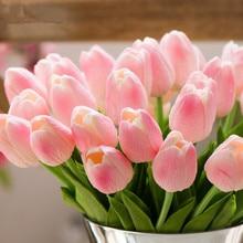 31pcs PU Artificial Fake Bouquet Tulip Flower Party Wedding Decoration Room