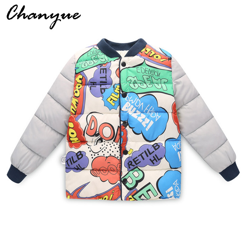 Chanyue Children Outerwear Boy Girl Winter Warm Graffiti Coat Child Cotton-Padded Clothes boy Down Jacket kid jackets 3-8 years children winter coats jacket baby boys warm outerwear thickening outdoors kids snow proof coat parkas cotton padded clothes