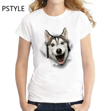 Women's Fashion T Shirt Funny T-Shirt Husky Dog Print tshirt Femme Girls Summer Short Sleeve Tee Tops White O-neck Clothes все цены