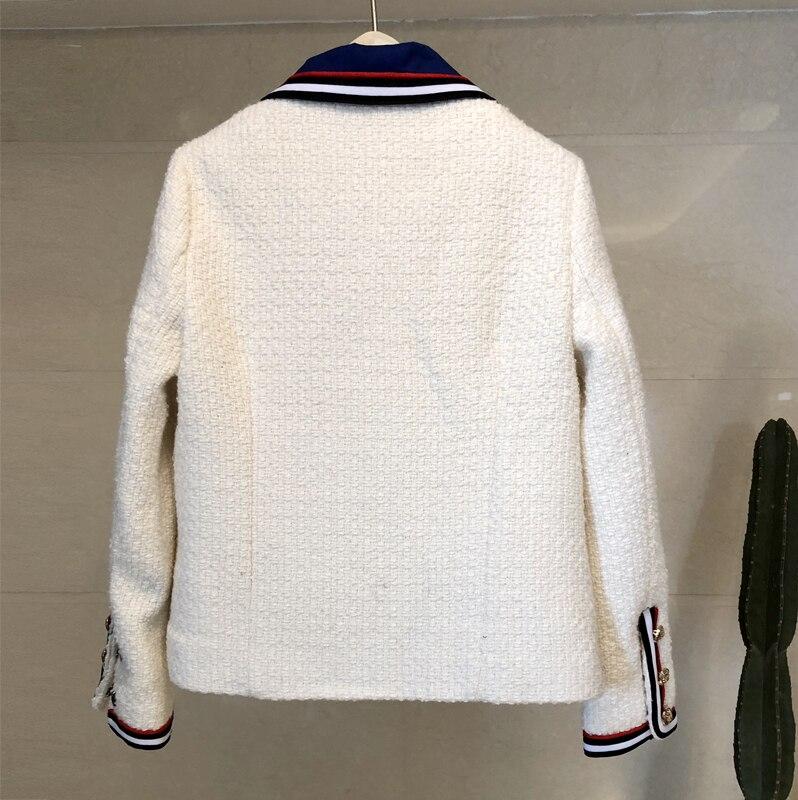 Vintage Arc Veste Nouveau Survêtement Élégant Tweed Chaud Noir En Hiver blanc Femmes Paillettes Laine Manteau Métal breasted Single 2019 Boucle qACA1