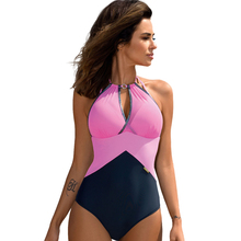 Splicing Halter Hollow Out One Piece Swimsuit Women Summer Sport Pink Solid Swimwear Push Up Sexy Deep V neck Cross Monokini 2018 new printing series plus size swimwear sexy deep v neck push up high cut swimsuit women one piece halter sport suit summer