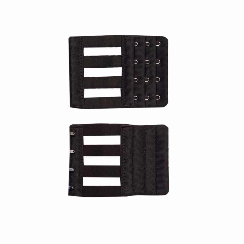 High Quality Stainless Steel Silk Ribbon 3 Rows 3/4 Hooks Bra Extender Elastic Fish Microfiber Style Bra Adjustable Buckles W2