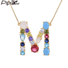 Pipitree Big Size 26 Alphabet Letter Necklace Multicolor Cubic Zirconia Name Initial Pendant Necklaces Box Chain Women Jewelry(China)