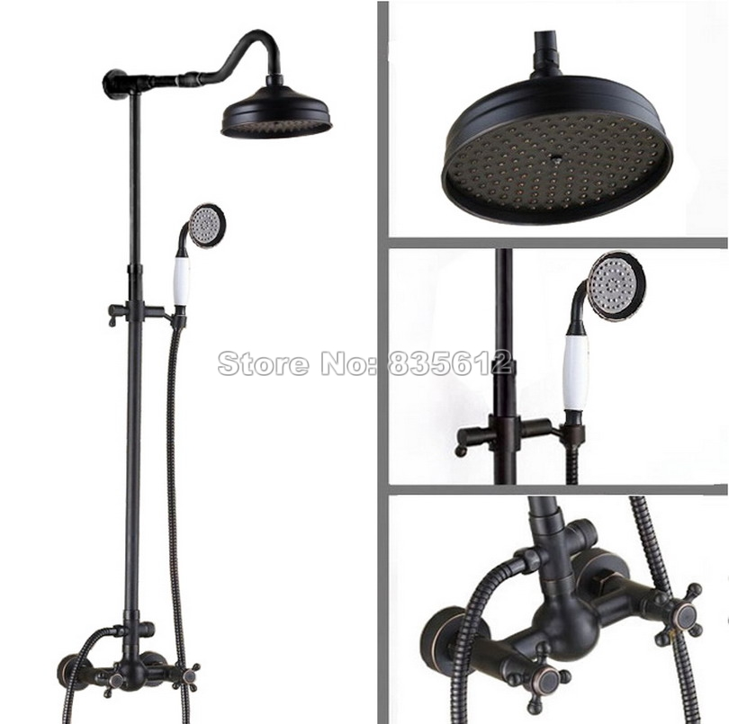 Black Oil Rubbed Bronze Bathroom Rain Shower Faucet Set with Wall Mounted Bathtub Mixer Taps + Hand Spray +8 Shower Head Wrs703