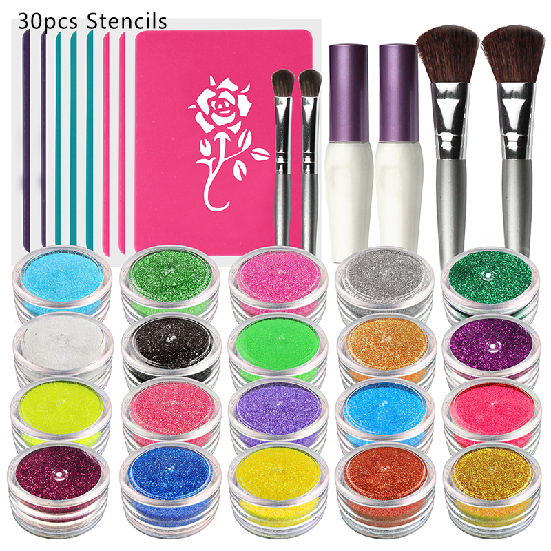 OPHIR 20 Colors Shimmer Glitter Tattoo Set w/ 30 Stencils 2 Glitter Glue & 4 Brushes for Temporary Tattoo Body Paint Nail Design карандаш для век водостойкий 22 1 2 г artdeco