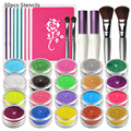 OPHIR 20 Colors Shimmer Glitter Tattoo Set w/ 30 Stencils 2 Glitter Glue & 4 Brushes for Temporary Tattoo Body Paint Nail Design