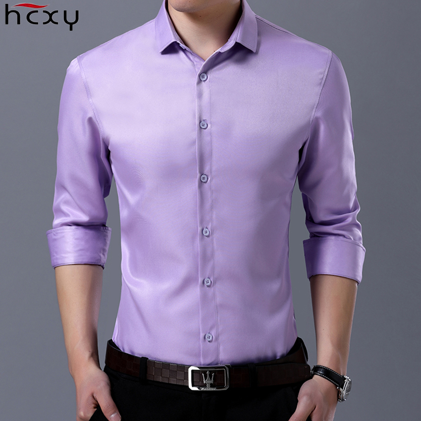 HCXY 2019 New Autumn Men's Shirts Male Long-sleeved Shirt Men Cargo Shirt Smooth Slim Fit Micro Stretch Fabric Business Clothes