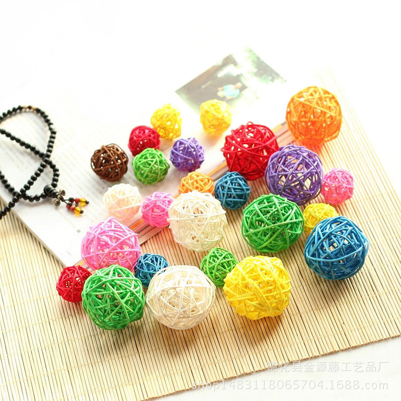 Mixed 3cm/4cm/5cm 25PCS Round Shape Rattan Ball Sepak Takraw For Christmas Birthday Party & Home Wedding Party Decoration