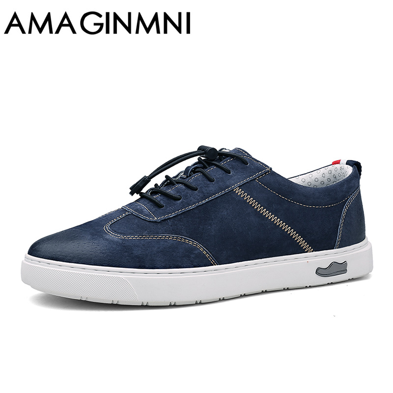 AMAGINMNI High Quality Leather Casual Shoes Men  Loafers Man hot sale men vintage genuine men's fashion flat shoes lace up male dxkzmcm genuine leather men loafers comfortable men casual shoes high quality handmade fashion men shoes