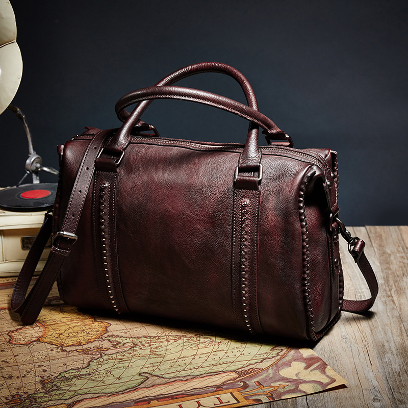 Famous Brands Vintage Handbag High Capacity Tote Shoulder Crossbody Bag Genuine Leather Women Top Handle Bags Designer Hand Bag