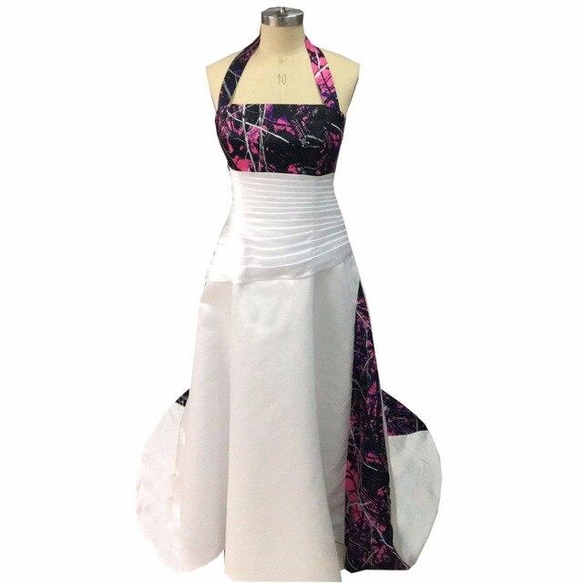 7c8c4c9453d49 halter muddy girl camo wedding dresses 2019 camouflage bridal gowns  vestidos de noiva with a veil custom make free shipping