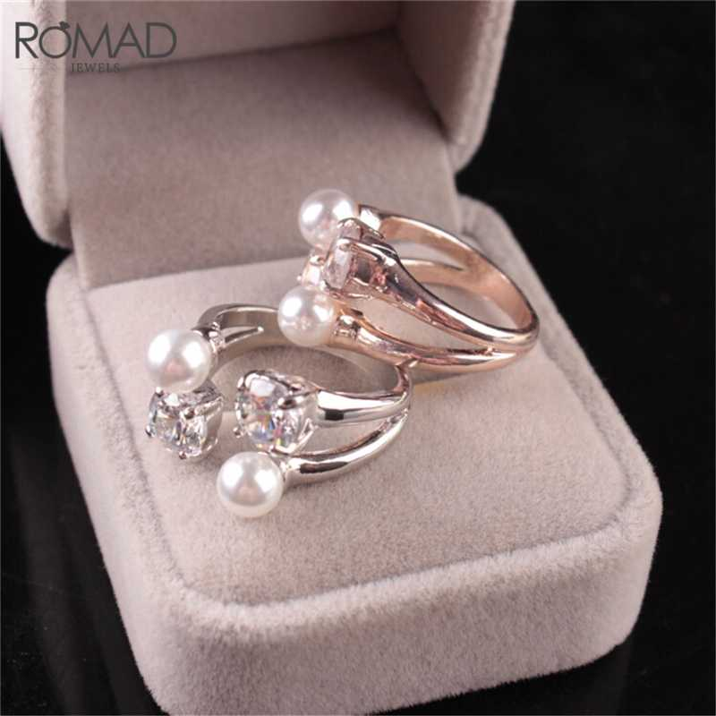 ROMAD Fashion Rose Gold/Silver color Imitation Pearl Opening Ring Adjustable Crystal Rings For Women Jewelry R4