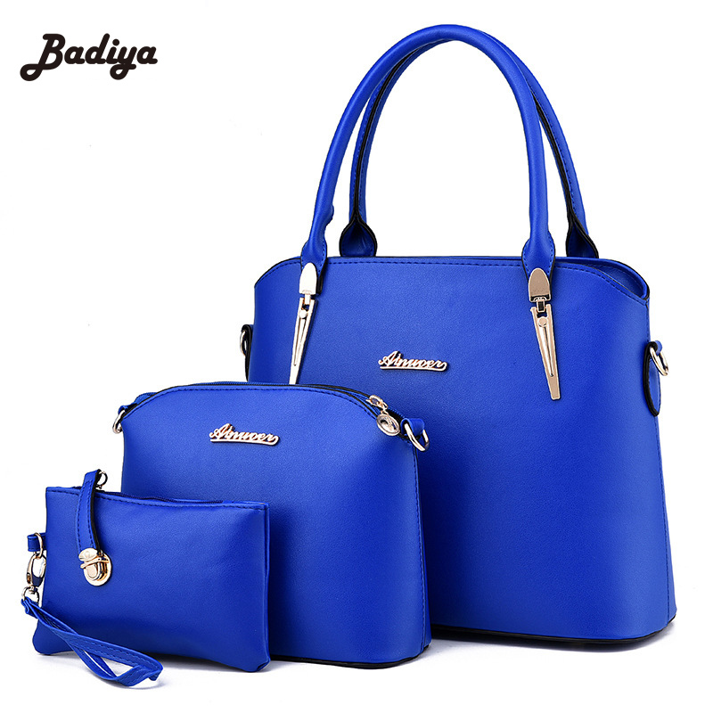 ФОТО New brand Fashion leather bag vintage handbag womens medium big tote bag European female crossbody bags for women handbag 3 sets