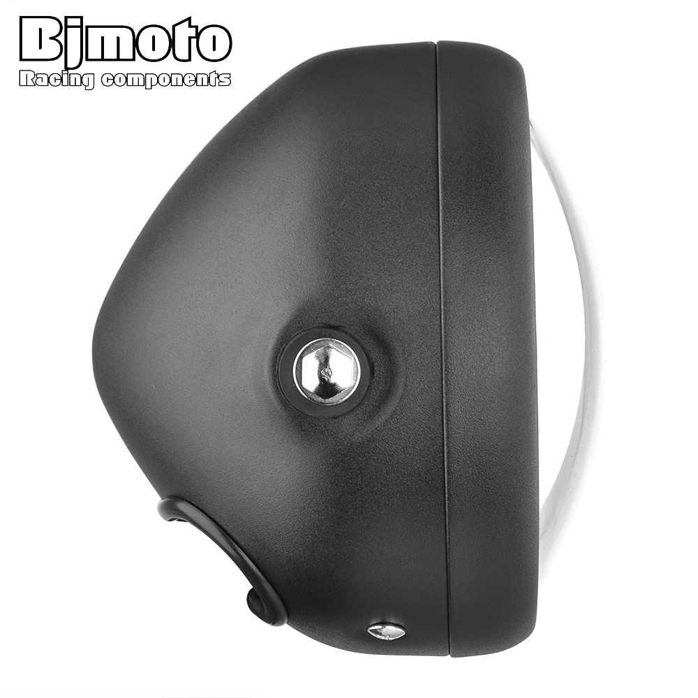 """Bjmoto 6.5 """"Motor LED Lampu Hi & Lo Lampu Depan Bohlam DRL dengan Angel Cincin untuk Harley Sportster Cafe Racer bobber"""