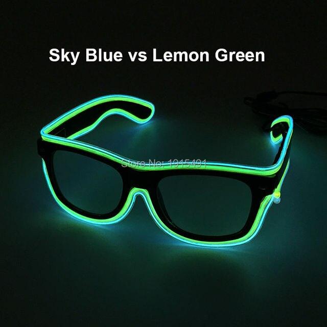 vente pas cher bonne qualité comment choisir € 8.43 12% de réduction|Pas cher! Deux couleurs mixtes Costume partie décor  lumineux EL fil lunettes de soleil nouveauté éclairage brillant LED bande  ...