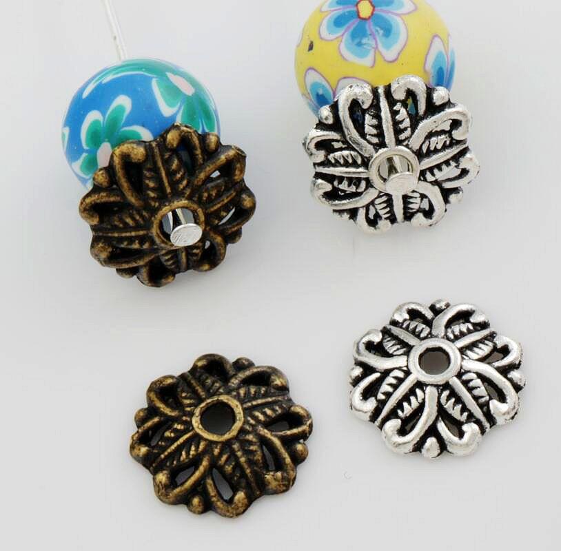Heart Leaf Dots Bead cap Jewelry Findings Components L1063 62pcs 11.3x11.9mm Antique Silver/Bronze Alloy