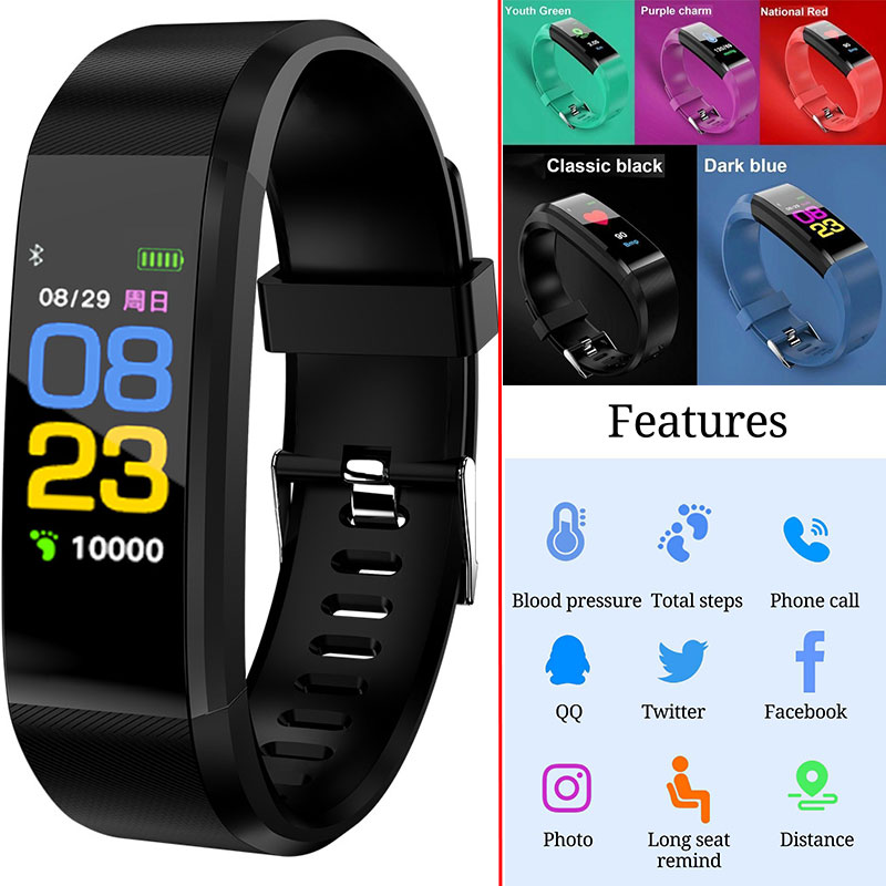 ID115 Plus OLED Screen Smart Bracelet Sports Pedometer Watch Fitness Running Walking Tracker Heart Rate Pedometer Smart Band