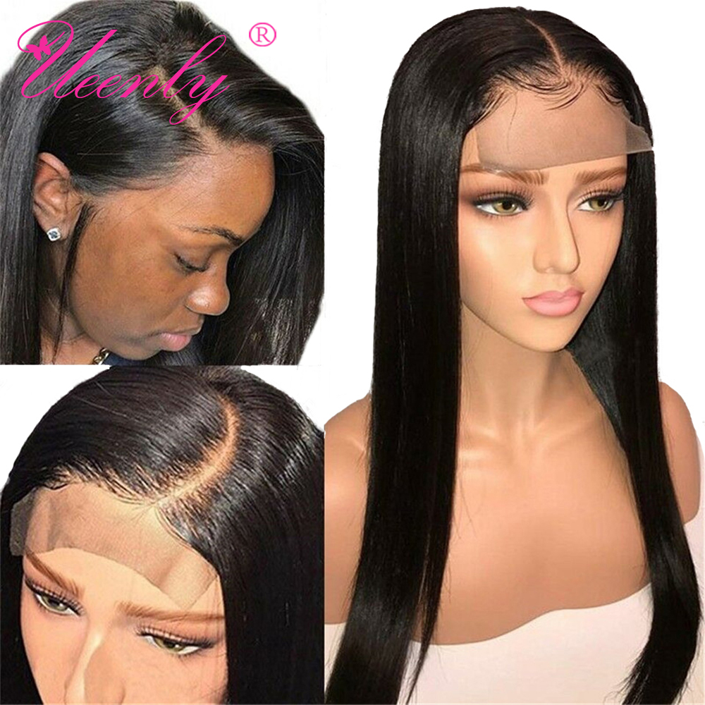 UEENLY Closure Wig Human-Hair-Wigs Lace Pre-Plucked Straight Baby Brazilian 4x4