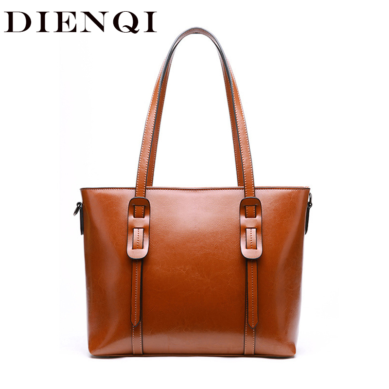 DIENQI Luxury Handbags Designer Women Genuine Leather Bag Big Brown Female Shoulder Bags Ladies Large Tote
