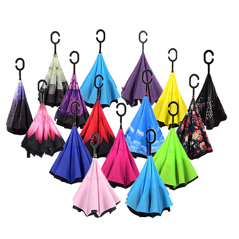 Windproof Reverse Folding Umbrella Double Layers Inverted Self Stand Inside Out Rain Protection C-Hook Hands