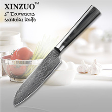 XINZUO 5″ inch Japanese VG10 Damascus steel kitchen knives santoku knife with double forged Micarta handle FREE SHIPPING