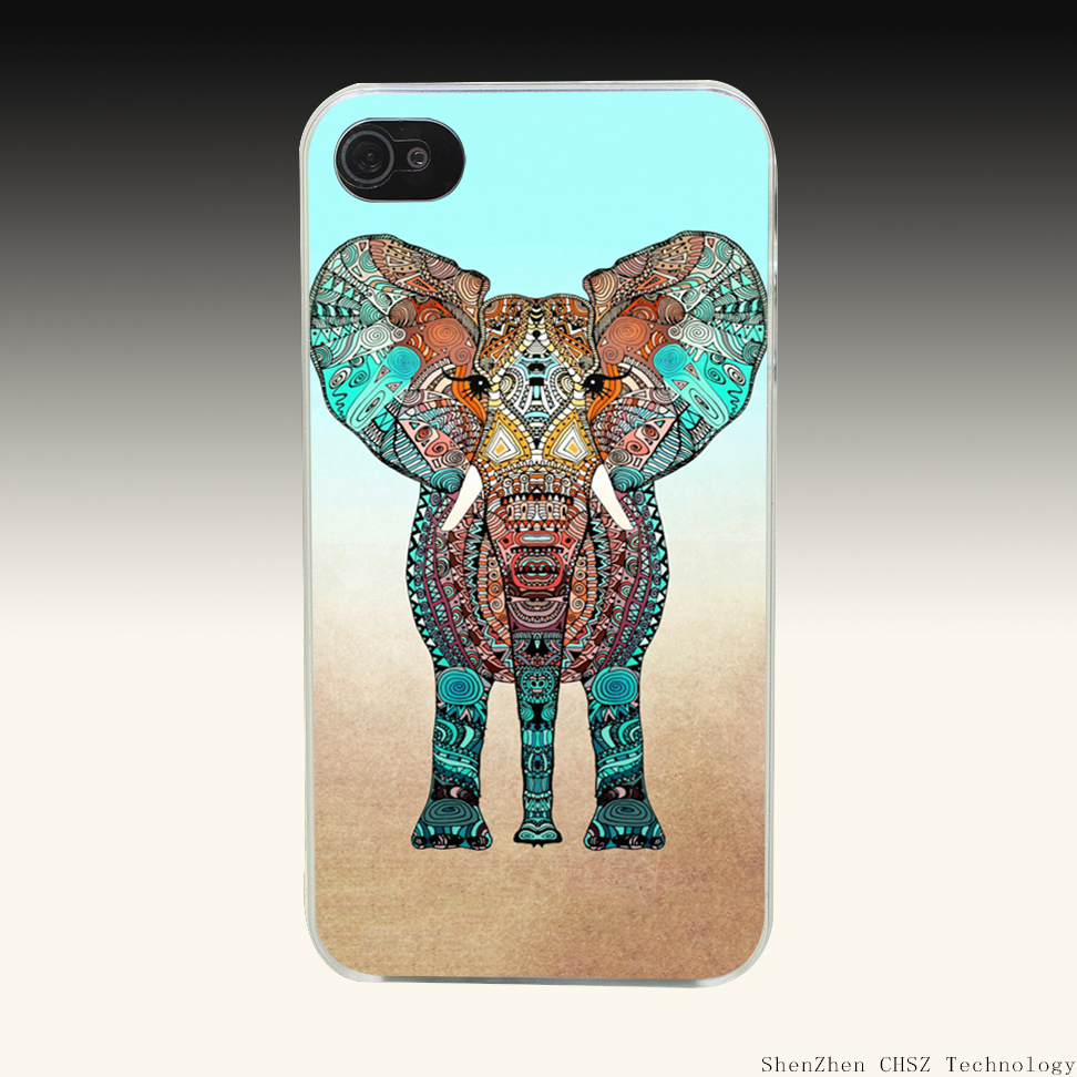 937e BOHO SUMMER ELEPHANT Hard Clear Case Transparent Cover for iPhone 4 4s 5 5s SE 6 6s 7 Plus