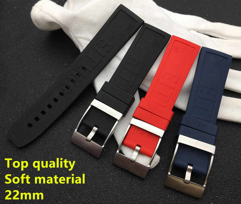 Top grade Caoutchouc Rubber silicone watch band 22mm Black Dark Blue Red Watchband For navitimer/avenger/Breitling strap logo on
