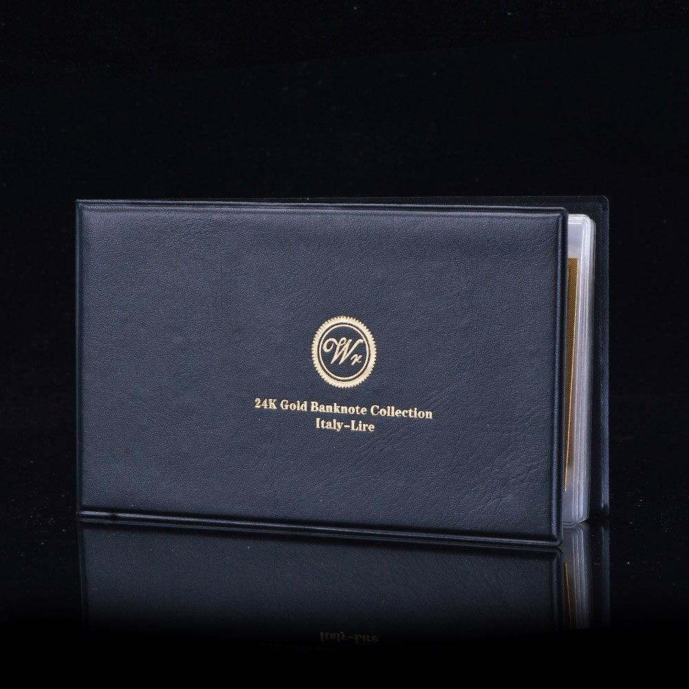 16d1d1508 7 قطع كامل إيطاليا ليرة الأوراق النقدية مجموعة الملونة الذهب احباط الأوراق  النقدية الايطالية العملات ورقة المال جمع مع الجلود ألبوم