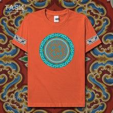 Estilo nacional característico camiseta minorias étnicas chinesas mongóis nacionalidade impressão manga curta roupas de algodão verão 02