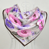 90 90cm Water Pink 100 Mulberry Large Square Silk Scarf Printed Fashion Hot Sale 100 Silk