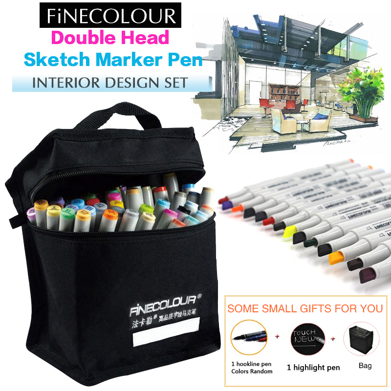 Finecolour 160 Optiona Sketch Marker Colors Double Headed Pen 36 48 60 72 PC Painting Sketch Art Marker Pens 0 4mm 24 colors art marker pen fine draw point 88 fineliner pens painting pencils children pens no tox drawing marker sketch