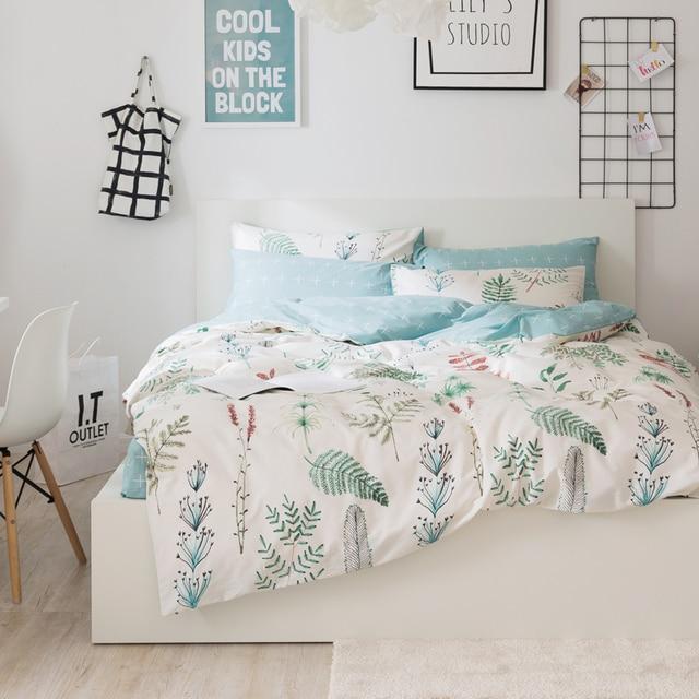 Svetanya Leaves Print Sheet Pillowcase And Duvet Cover Sets 100 Cotton Bedlinen Twin Double Queen