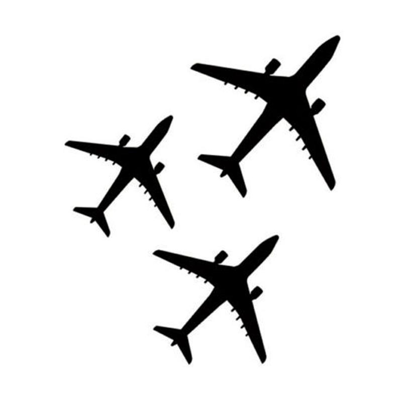 14.4cm*17.1cm Three Airplanes Plane Decor Vinyl Car Sticker Motorcycle Black/Silver S3-5742