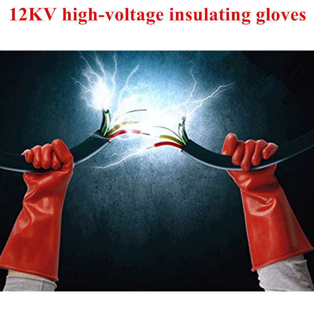 1 Pair Anti-electricity Protect Professional 12kv High Voltage Electrical Insulating Gloves Rubber Electrician Safety Glove 40cm