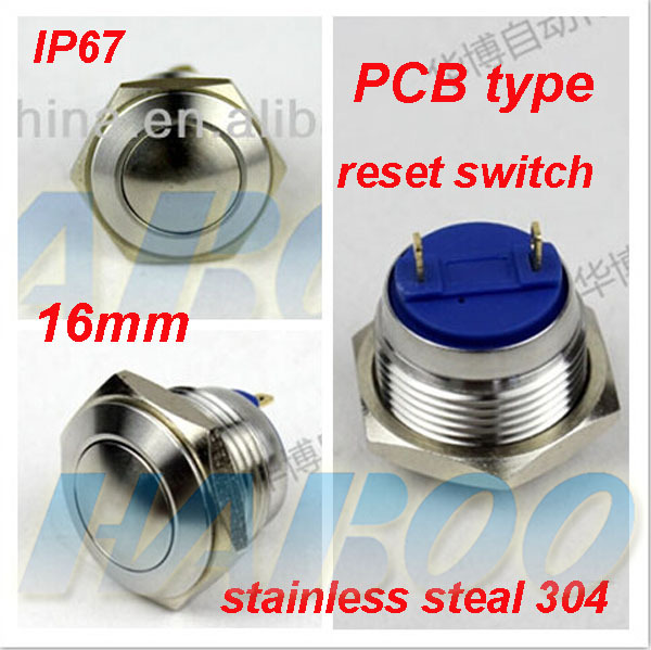 high quality IP67 16mm PCB metal stainless steel push button switch