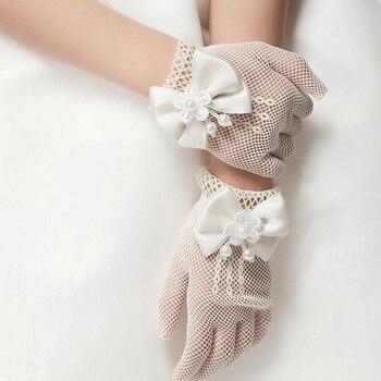 Kids Gift White Elastic Mesh Cloth Girls Party Formal Etiquette Gloves Pearl Short Lace Bow Children Princess Dance Gloves G81