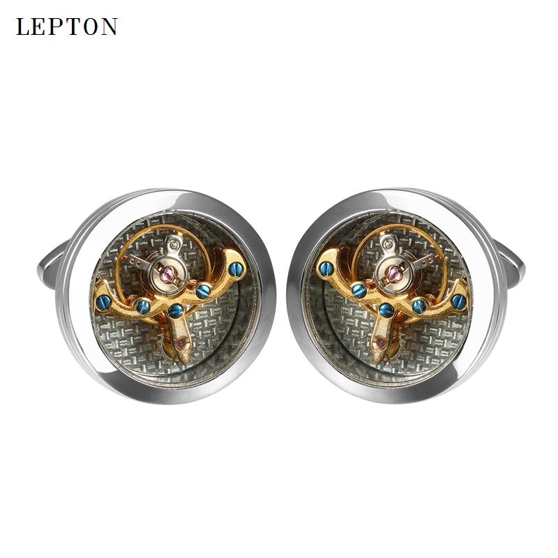 Gemelos de movimiento Lepton Gold Color Tourbillon para hombres reloj - Bisutería - foto 5
