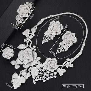 Image 5 - SisCathy Luxus Big Rose Blume Schmuck Sets Für Frauen Hochzeit Party Kleid Indische Braut Cubic Zirkon CZ Schmuck Sets 2019