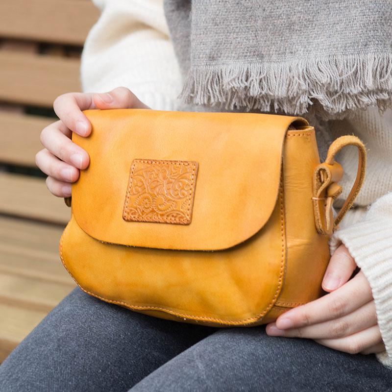 Image 2 - AETOO Original design handbags handmade leather casual Messenger  bag Sen series literary retro leather mini saddle bagTop-Handle Bags