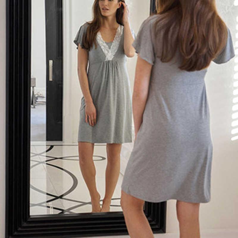 0aa44c221d8 ENXI Pregnancy maternity Nightgown Maternity Pajamas Dress Lace Sleepwear  Pregnant Breastfeeding Elegant Nursing; 1 of ...