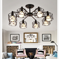 Креативные винтажные люстры с несколькими стержнями из кованого железа  потолочные лампы E27  лампы для гостиной  светильники для домашнего ...