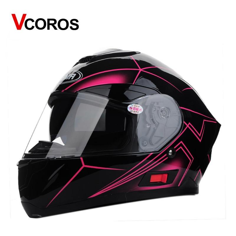 все цены на VCOROS motorcycle helmet full face safety motorbike helmet man woman racing moto helmet with inner lens cascos para casque DOT