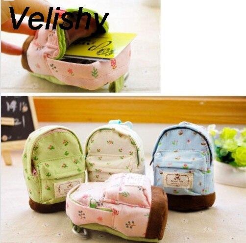Mini Canvas Backpack Style Floral Pencil Bag School Pencil Case Pen Curtain Storage Bag 13x10x4cm