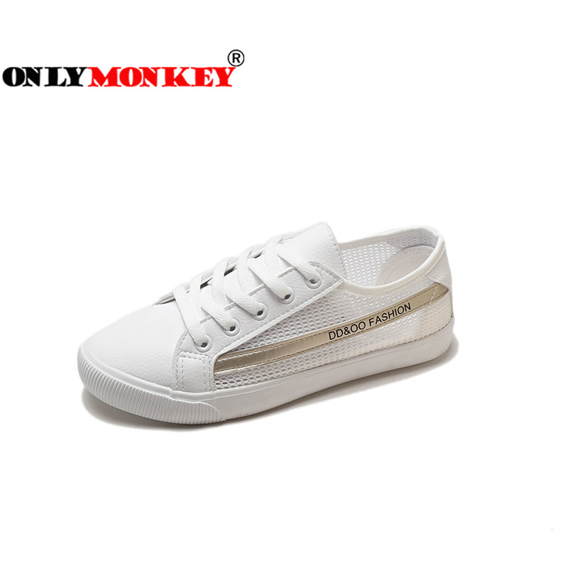 ONLYMONKEY Lace Up Women Flat Skor Sida Mesh Design Kvinnor - Damskor
