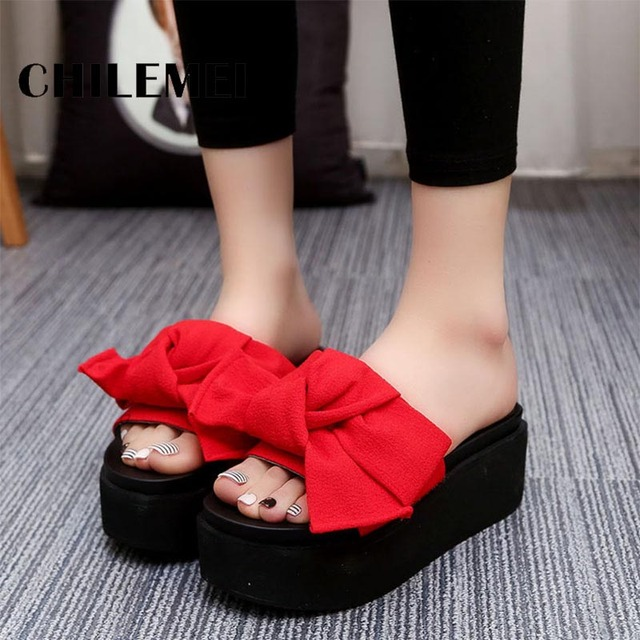 New Korea Big Bowtie Woman Beach Flip Flops Summer Sandals Slip-Resistant Slippers Platform Sandals zapatillas chinelo sandalia