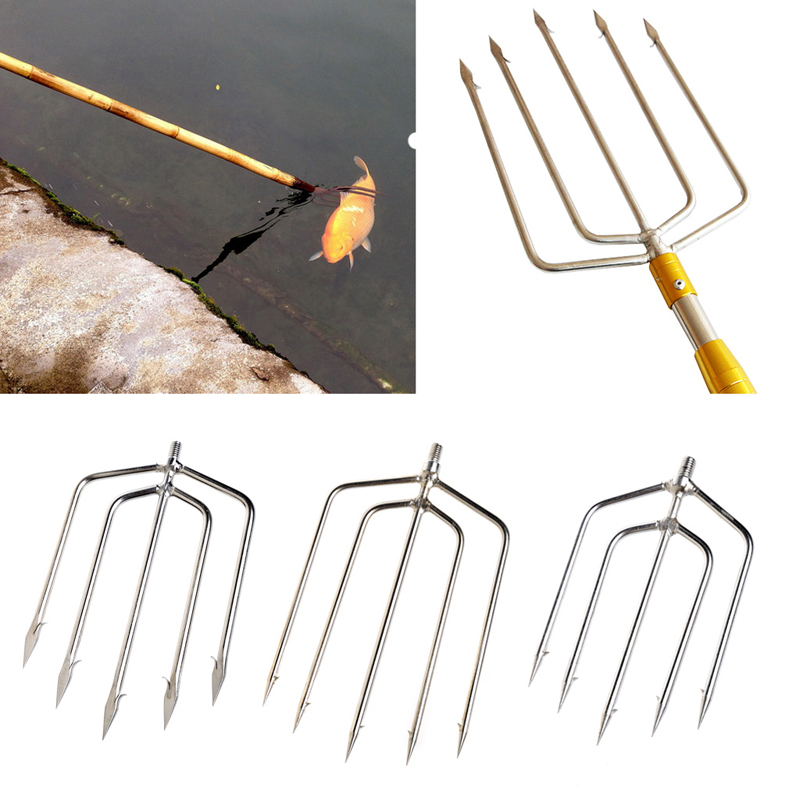 Fishing Tools Stainless Steel Prong Harpoon Fish Fork Fishing Ice Breaker Accessory Tackle Tool
