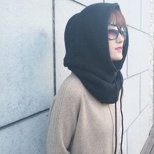 Image 5 - Zocept 여성 다기능 스카프 모자 캐시미어 울 혼합 니트 목 모자 겨울 부드러운 따뜻한 솔리드 컬러 머리 모자