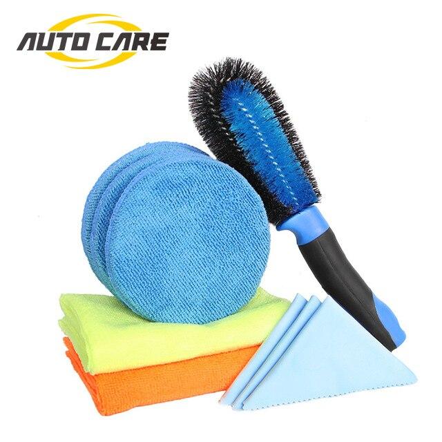 9PCS Car Washing Washer Kit Wash Pad Mitts Glove Cloth Towel Sponge Tire Brush